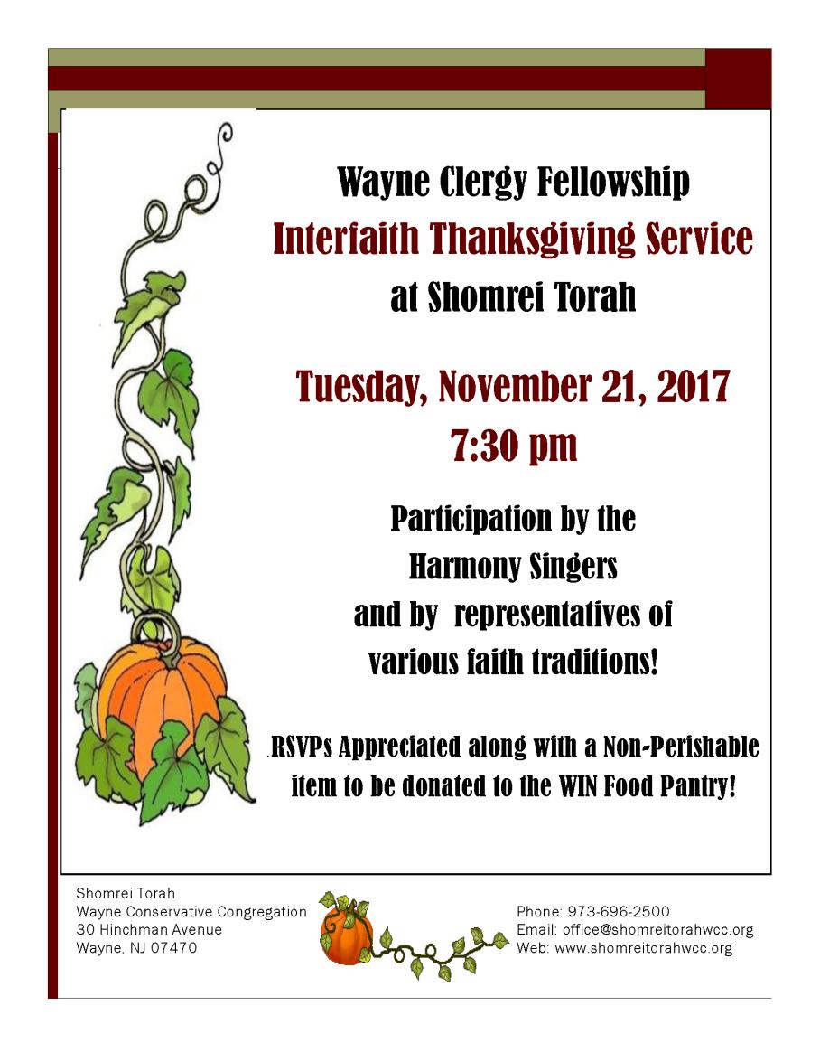 Interfaith Thanksgiving Service flyer