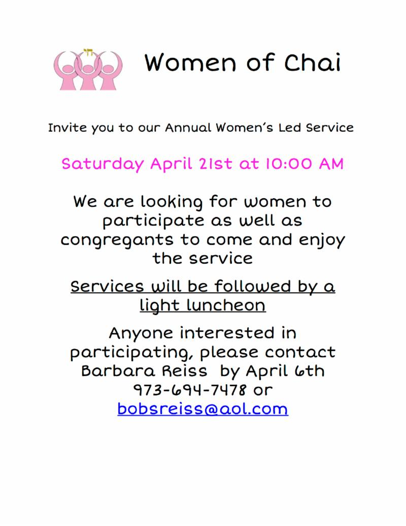 ChaiWomen ShabbatService April2018