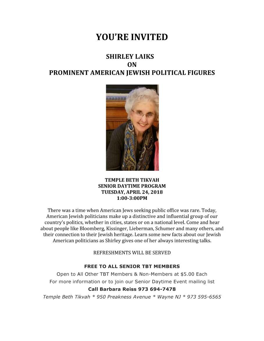 senior program with shirley laiks 2018