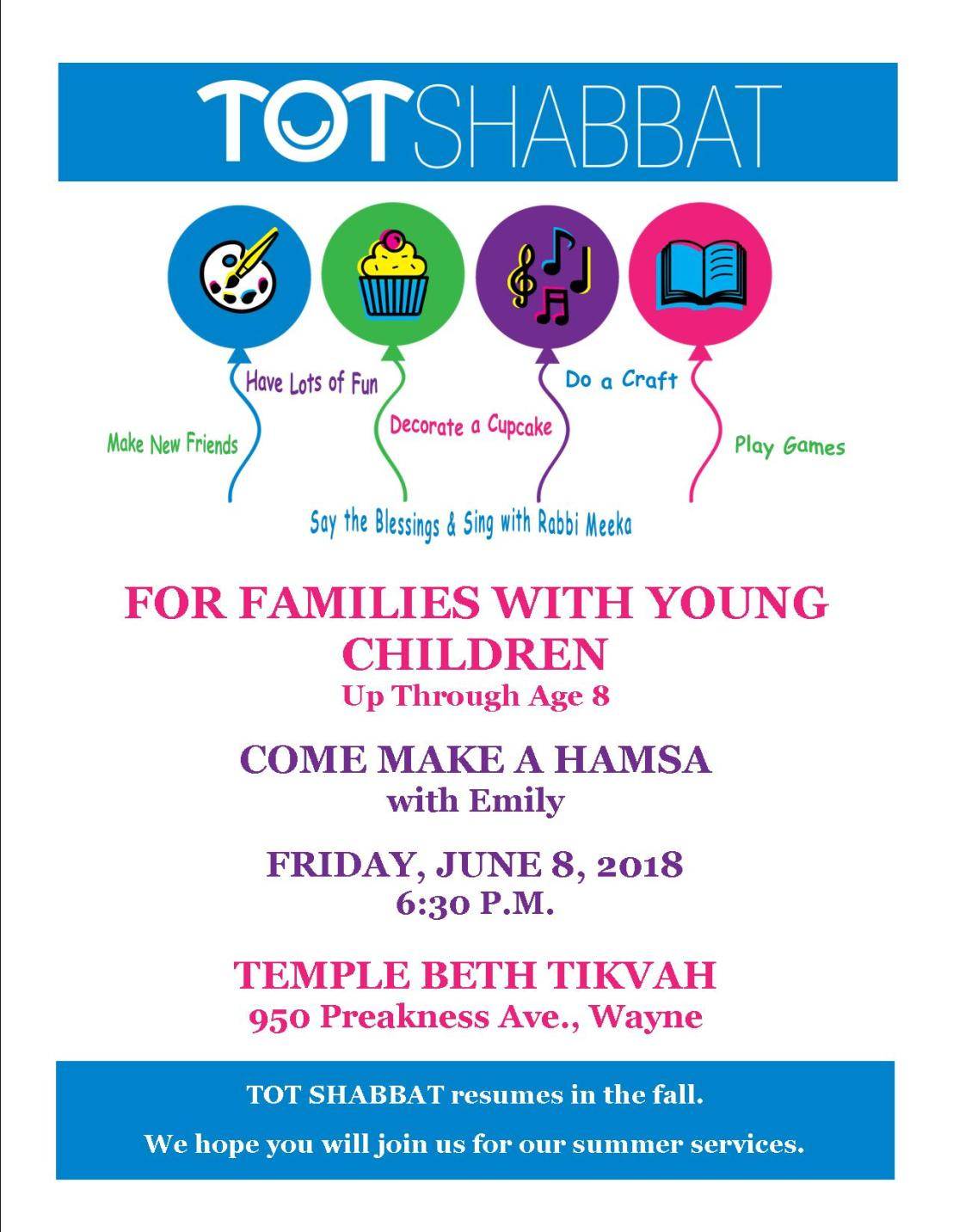 TotShabbat flyernew for summer 2018