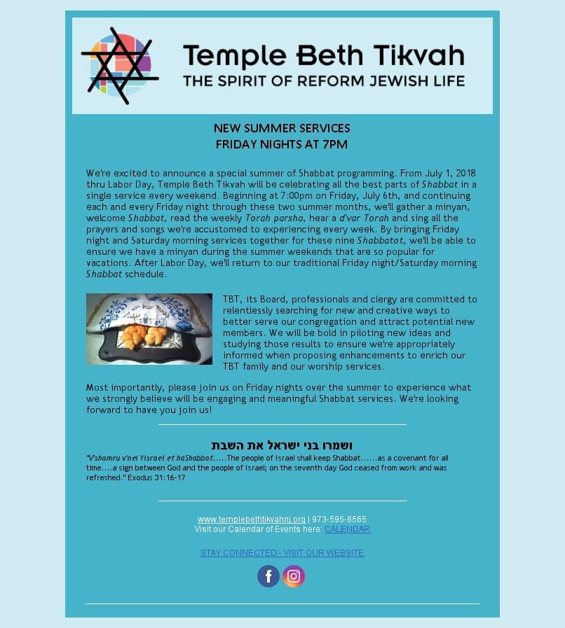 Summer 5778 Shabbat service schedule