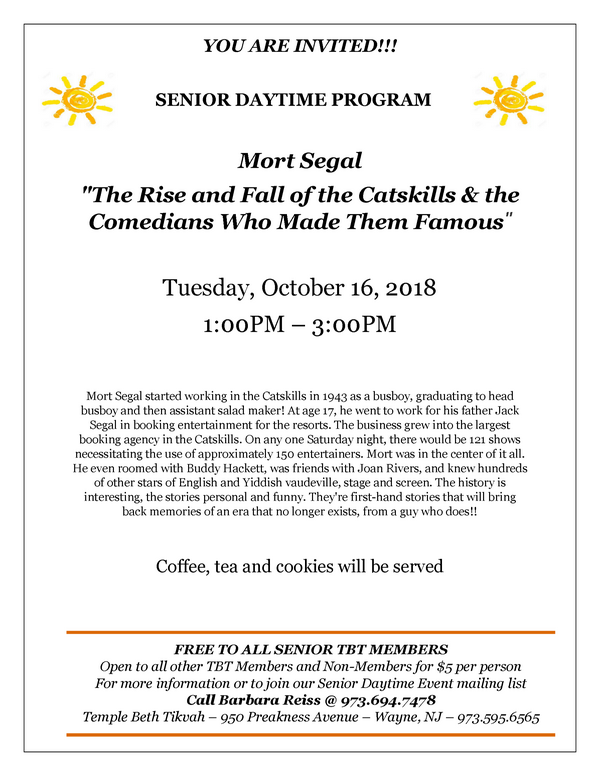 senior daytime program with Mort Segal Flyer october 2018