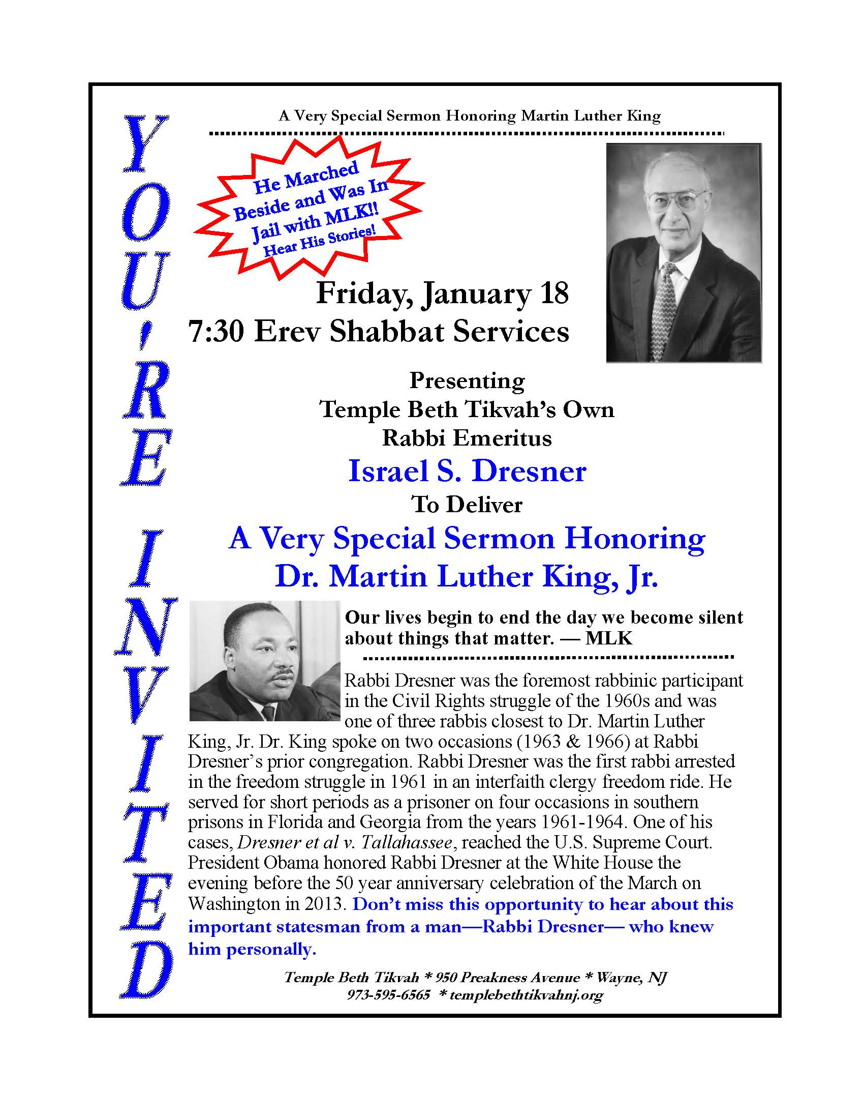 Join us for Rabbi Emeritus Dresner's annual Sermon honoring Dr. King Select for more information