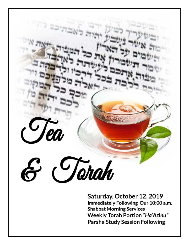 Join us for an extended Kiddush as we discuss Ha'Azinu with Rabbi Meeka